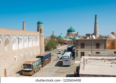 Khiva, Uzbekistan - Sep 05 2018: Ancient city of Itchan Kala in Khiva, Uzbekistan. Itchan Kala is Unesco World Heritage Site.