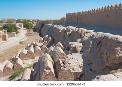 Khiva, Uzbekistan - Sep 05 2018: City wall of Ancient city of Itchan Kala in Khiva, Uzbekistan. Itchan Kala is Unesco World Heritage Site.