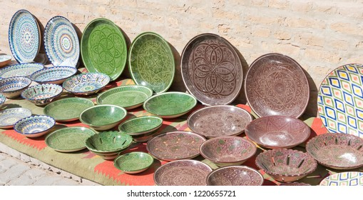 Khiva, Uzbekistan - Sep 05 2018: Souvenirs at Ancient city of Itchan Kala in Khiva, Uzbekistan. Itchan Kala is Unesco World Heritage Site.