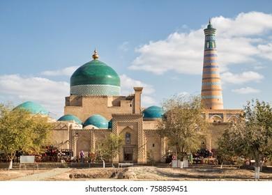 Khiva, view of the Pakhlavan Mahmud architectural complex and the minaret of Islam-Khodja. Uzbekistan