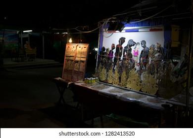 Khlong Hae Floating Market,Hat Yai.Thailand Taken on December 2018. Phot for shadow play stall in night shot at Hatyai market.