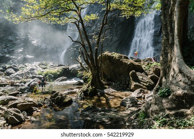 KHLONG LAN, THAILAND - December 24, 2016: Khlong Lan waterfall, a beautiful and famous waterfall in Khlong Lan National Park, Thailand.