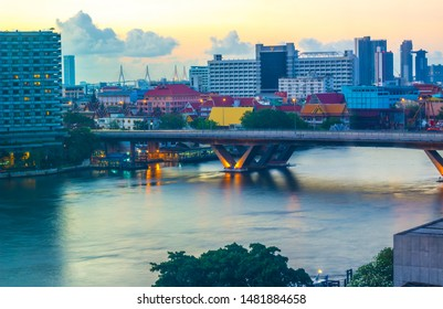 Khlong San,Bang Rak,Sathorn,Bangkok,Thailand on February 19,2019:King Taksin Bridge(Sathorn Bridge) and Bangkok skyline in early morning.