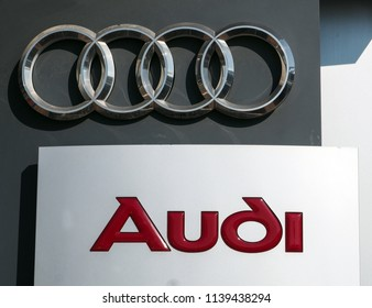 Khmelnytskyi, Ukraine - July 12, 2018: AUDI logo. Audi AG is a German automobile manufacturer that designs, engineers, produces, markets and distributes luxury vehicles.