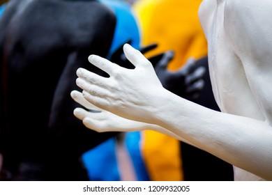 Khmelnytskyi. Ukraine. October 2018. Sculptures by Viktor Sidorenko. The dialogue of representatives of different races. Understanding between people with different skin colors