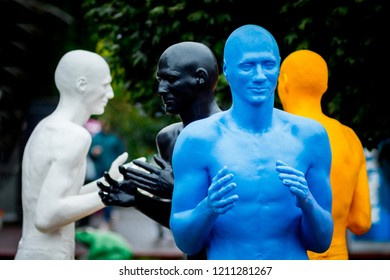 Khmelnytskyi. Ukraine. October 2018. Sculptures by V. Sidorenko. The dialogue of representatives of different races. Understanding between people with different skin colors