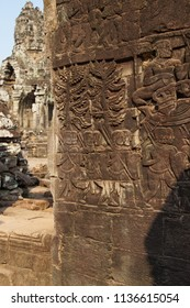 Khmer guardian  bas relief sculpture in Bayon, Angkor Thom,  Cambodia