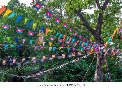 Khmer New Year celebration - colorful tree