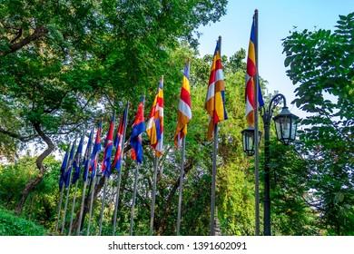 Khmer New Year celebration - colorful flag