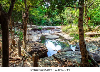 Khmer riverbed carving at The River of a Thousand Lingas / Sahasralingas (Linga 1,000) of Kbal Spean. Phnom Kulen National Park (Phnom Koulen, Mountain of Lychees), Siem Reap, Cambodia.