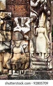 Khmer stone carving in Angkor Thom, Cambodia