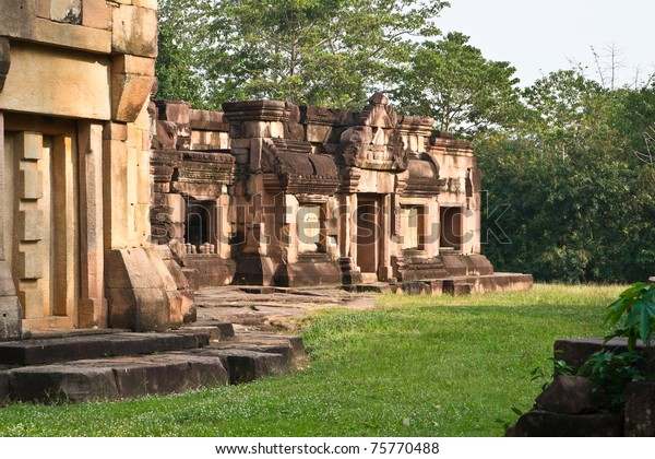 The khmer temple Ta Moan Thom (or Tha Muang Thom) hidden in the jungle directly at the Thai-Cambodian borderline.  The temple area at this site is part of repeated conflicts between both countries.