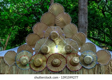 Khmer traditional hats decorated for the celebration of the Khmer New Year celebration in Cambodia