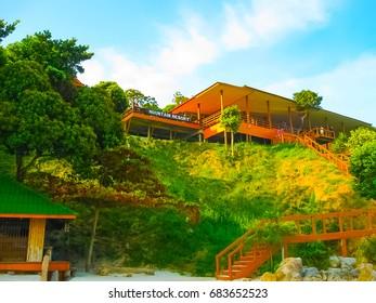 Kho Lipe, Satun, Thailand - February 06, 2011: The main entrance to Mountain Resort, Koh Lipe