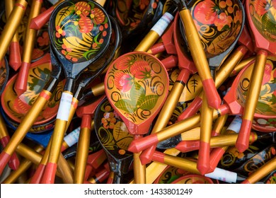 Khokhloma, Hohloma-traditional Russian Art.Russian wood painting handicraft style spoons and national ornament.