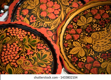 Khokhloma, Hohloma-traditional Russian Art.Russian wood painting handicraft style tray and national ornament.