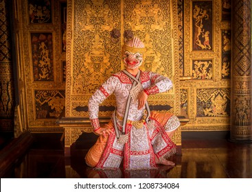 Khon is art culture Thailand Dancing in masked .This seance Hanuman is dancing in literature Ramayana. Khon is thailand culture and traditional.