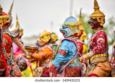 Khon is art culture Thailand Dancing in masked.