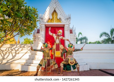 """Khon is art culture Thailand Dancing in masked.This Acting scene pantomime show """"Raise the Battle""""  The battle of the two sides are fighting in literature Ramayana"""
