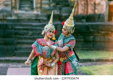 Khon is the graceful dance drama originally reserved for the royal court performance. Thailand Dancing in masked of Ramayana.