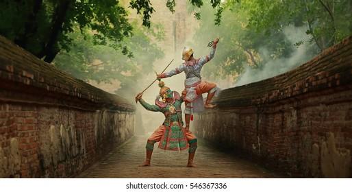 [KHON  HANUMAN RAMAYANA] Hanuman is character in  thailand ; is traditional dance drama  art of Thai  classical monkey masked, this performance is Ramayana THAI KHON epic
