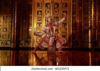 [KHON  HANUMAN RAMAYANA] Hanuman is character in  thaland ; is traditional dance drama  art of Thai  classical monkey masked, this performance is Ramayana THAI KHON epic