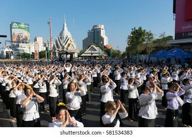 Khon Kaen, Thailand - February 16 2017 : More than 25,000 Khon Kaen people doing the traditional dance to celebrate 220 years Khon Kaen City.