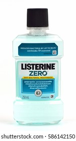 KHON KAEN - THAILAND - February 23, 2017:Editorial photo of  Listerine isolated on white background. Listerine is a brand of antiseptic mouthwash product.