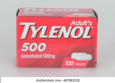 KHON KAEN - THAILAND - July 31, 2017: illustrative editorial. Box of Tylenol caplets extra strength pain reliever, fever reducer. isolated on white.