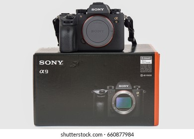 KHON KAEN - THAILAND - June 16, 2017: illustrative editorial, The new Sony A9 Mirrorless camera Put up for sale, Sony marketed in Thailand