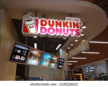 Khon Kaen, Thailand- June 22, 2018: A design of Dunkin Donut shop at Lotus department store, Nong Rua branch.