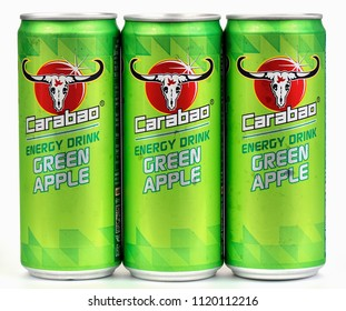 Khon Kaen - Thailand - June 25, 2018: Can of Carabao Dang, advertising, marketing energy drinks that are popular in the number one spot. Carabao Dang Company All (Beverages Red Carabao ).