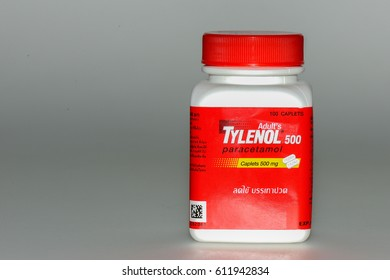 KHON KAEN - THAILAND - March 31, 2017: illustrative editorial.   A bottle of Tylenol 500 pain reliever pills isolated on white.