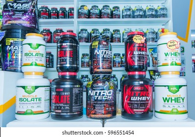 KHON KAEN - THAILAND - March 9, 2017: Workout supplement, sport nutrition, bodybuilding supplements, sport diet power, whey, and soy and egg protein, chemistry on display on shelves in a Pharmacy