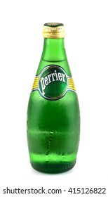KHON KAEN - THAILAND - May 4, 2016 : Bottle of Perrier Sparkling Natural Mineral Water, fortified with gas from the spring. Perrier is the best-selling imported sparkling mineral water in the U.S.