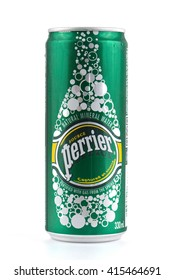 KHON KAEN - THAILAND - May 4, 2016 : Can of Perrier Sparkling Natural Mineral Water, fortified with gas from the spring. Perrier is the best-selling imported sparkling mineral water in the U.S.
