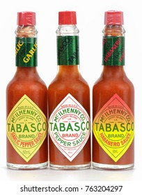 KHON KAEN - THAILAND - November 27, 2017 : The Bottle of Tabasco sauce .Tabasco sauce is brand of hot sauce made from tabasco peppers, vinegar and salt. The sauce is produced by US-based McIlhenny Co.