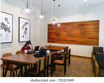 Khon Kaen, Thailand : Oct 09, 2017 - The best coffee shop design at Starbucks Coffee. This place have been internet service for customer.