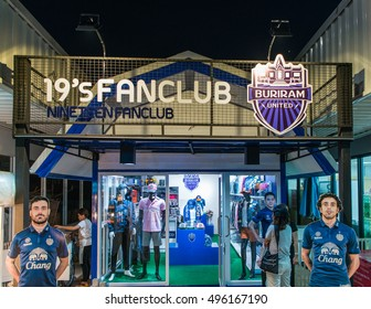 "Khon Kaen - Thailand - October 10, 2016:Buriram United. ""Castle Thunder"" stores selling souvenirs of a specified open shop in Khon Kaen, the club's stadium called Estadio handsets Province of Thailand"