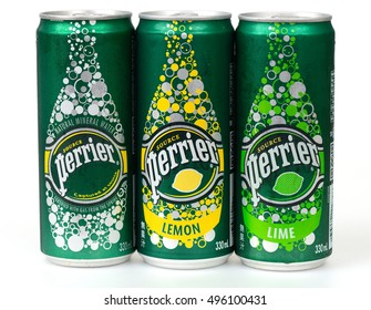 KHON KAEN - THAILAND - October 9, 2016:Can of Perrier Sparkling Natural Mineral Water, fortified with gas from the spring. Perrier is the best-selling imported sparkling mineral water in the U.S.