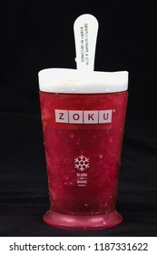 khon kaen - Thailand, September, 25, 2018: Zoku slush and shake maker cup in Thailand. Zoku brand is a manufacturer of slush and shake maker product. Plastic cup - ice Crystals, Slurpee Soft Drink