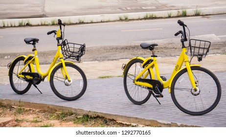 Khon Kean University Thailand on 25 July,2018 The two bike-sharing Ofo stand.