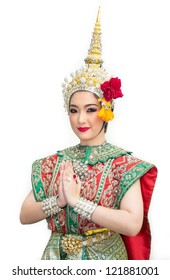 khon show sita in a ramayana epic and traditional costume of thailand