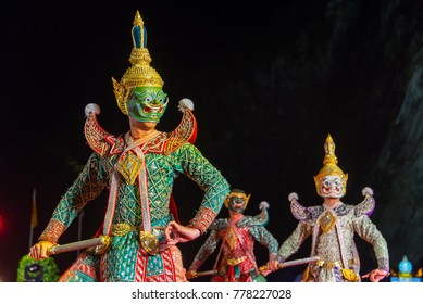 """Khon"" Thailand culture Dancing art in masked that high classical of dance in  Literature Ramayana"