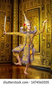 [KHON Tos-Sa-Kan RAMAYANA] Khon,Art culture Thailand Dancing in masked khon hanuman in literature Ramayana,Thailand.