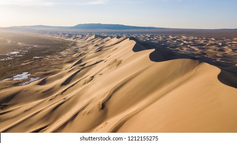 Khongoryn Els Sand Dunes From Above, Mongolia, Asia