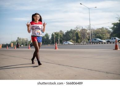 Khonkaen - January 29: unidentified runners participates in Ekiden 2016 Marathon relay run fun forward on January 29 2016  in Khonkaen Thailand