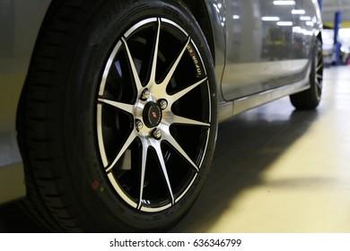 KhonKaen, Thailand - 03.04, 2017 : wheel detail in silver black color.