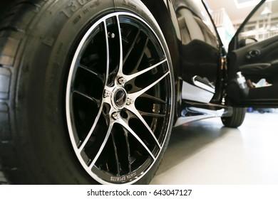 KhonKaen, Thailand - 18.05, 2017 :wheel detail car in silver black color.
