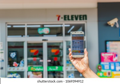 KHONKAEN - THAILAND - April. 15, 2018: Application on smartphone Wallet by truemoney. Payment  Convenience Store 7-11 shop, Cashless Society in  Khonkaen Thailand.